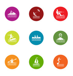 Sailing charter icons set flat style vector