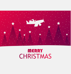 santa claus is flying in an airplane over a vector image