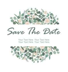 save the date card with white rose flowers vector image
