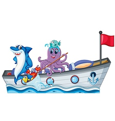 Sea creatures riding on a boat with flag vector image vector image