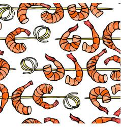 seamless shrimp on wood stick prawn kebab vector image