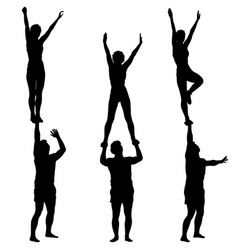 Set black silhouette two acrobats show stand vector