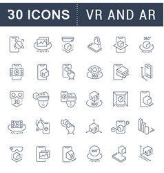 Set line icons vr and ar vector