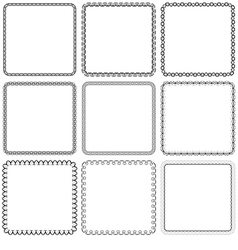 set Nine square ornamental frames Black on a white vector image