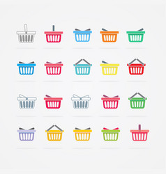 Set of colored shopping basket vector