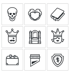 Set of Hamlet tragedy Icons Death Love vector