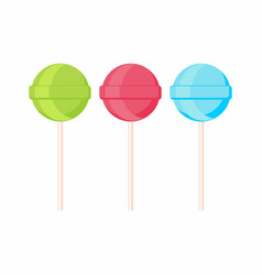 set of lollipop candis on sticks sweets vector image
