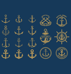 set of nautical emblems and design elements vector image