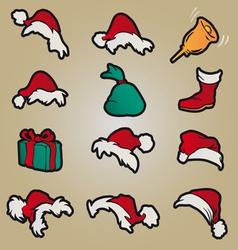 set of red santa hats and clothing and christmas vector image