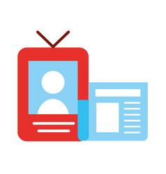 smartphone newspaper broadcast breaking news vector image