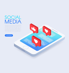 Social chat concept with isometric phone and likes vector