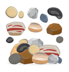 stones and rocks cartoon stone set vector image