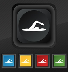 swimmer icon symbol Set of five colorful stylish vector image