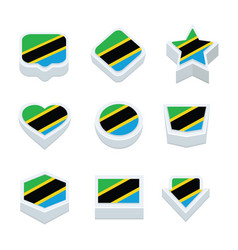 Tanzania flags icons and button set nine styles vector