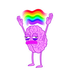 tired brain spreads his arms above with a rainbow vector image