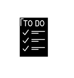 to do list black icon sign on isolated vector image