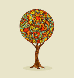 tree mandala art in traditional ethnic boho style vector image