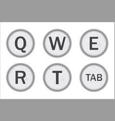 Typewriter keys qwert vector
