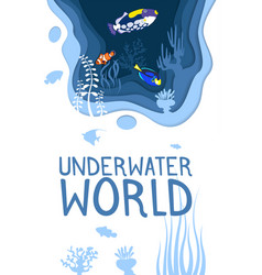Underwater world design with coral reef fishes vector