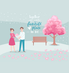 valentine s day romantic couple in love cartoon vector image