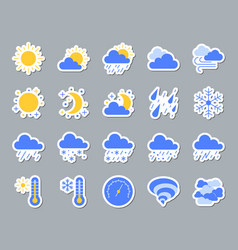 weather patch sticker icons set vector image