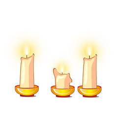 white candles burn and melt isolated on white vector image