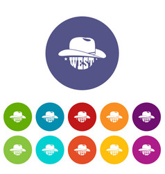wild west cowboy hat icons set color vector image