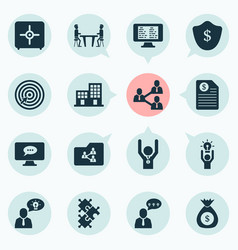 Work icons set with shared folder online task vector