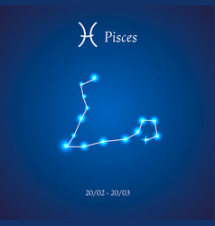 Zodiac constellation pisces the fish vector