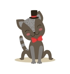 Black little girly cute kitten wearing top hat and vector