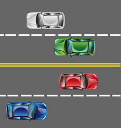 different cars top view position set on the road vector image