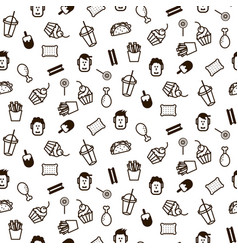 fast food icon style seamless pattern vector image