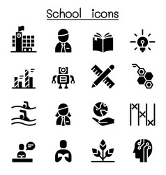 school learning education icon set vector image