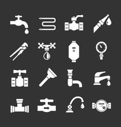 Set icons of plumbing vector