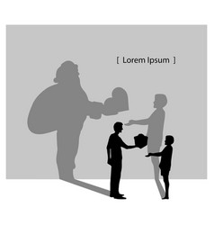silhouette man giving boy a gift box with the vector image vector image