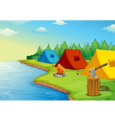 Tents and river vector image vector image