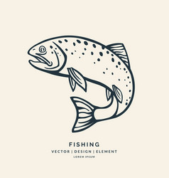 trout fish jumping out of the water vector image