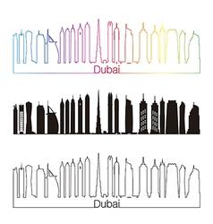 Dubai V2 skyline linear style with rainbow vector image