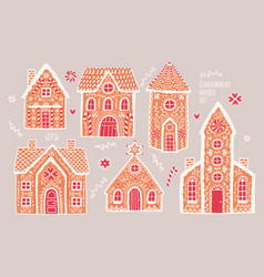 gingerbread houses set cute hand drawn honey vector image