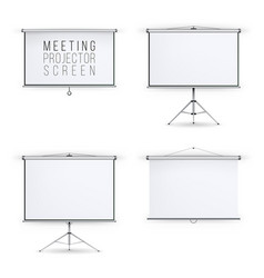 meeting projector screen set white board vector image vector image