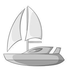 Speed boat with sail icon gray monochrome style vector