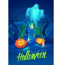 Spooky graveyard Halloween cardposter vector image