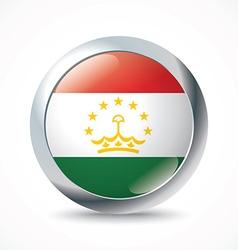 Tajikistan flag button vector image vector image