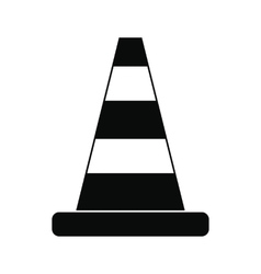 Cone traffic black simple icon vector image vector image
