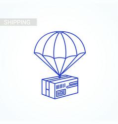 line parcel box item shipping service concept vector image