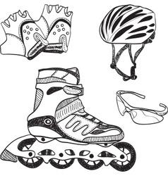 Roller skating equipment vector image
