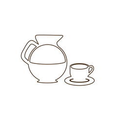 sketch contour set glass jar of coffee with dish vector image