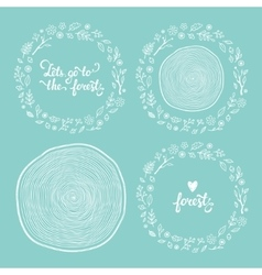 drawn forest frames set vector image vector image