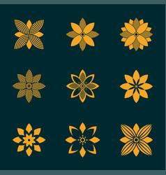 set of ornamental emblem flowers symbol vector image vector image