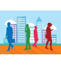 Silhouettes of people going about their business vector image